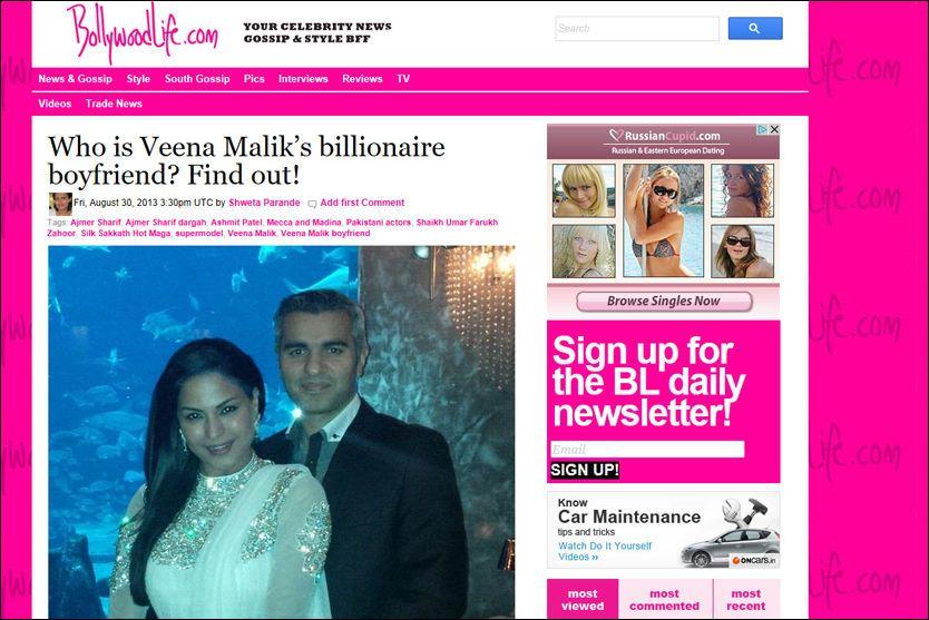 NY KJÆRESTE: Den svindelutpekte Umar Farooq Zahoor (37) poserer sammen med sin nye kjæreste, den pakistanske filmskuespilleren Veena Malik. Det nye paret var en av toppsakene på nettstedet Bollywoodlife.com på fredag. Faksimile: BOLLYWOODLIFE.COM