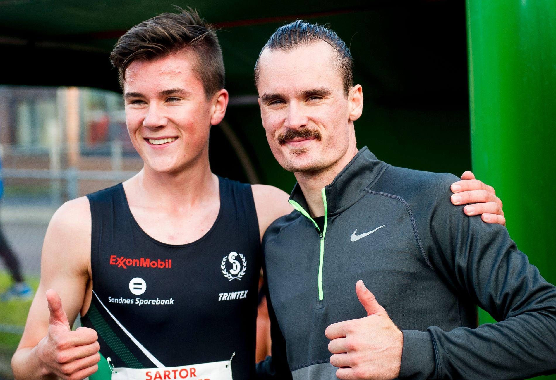 SAMMEN I DIAMOND LEAGUE: Jakob Ingebrigtsen (16) og Henrik Ingebrigtsen (26) skal løpe en engelsk mile i Eugene i Oregon lørdag kveld norsk tid.