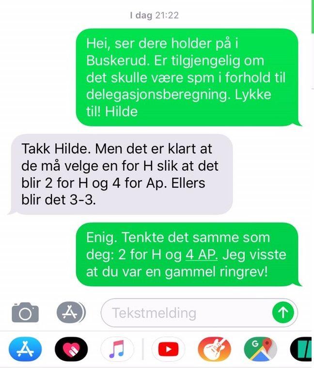 SMS-EN: Debatten ville ingen ende ta og til slutt ble fylkessekretæren bedt om å ta kontakt med Hilde Frafjord Johnson for å høre hva hun mente. De hadde allerede sms-et, og hun (i grønt) var enig med ham (i grått).