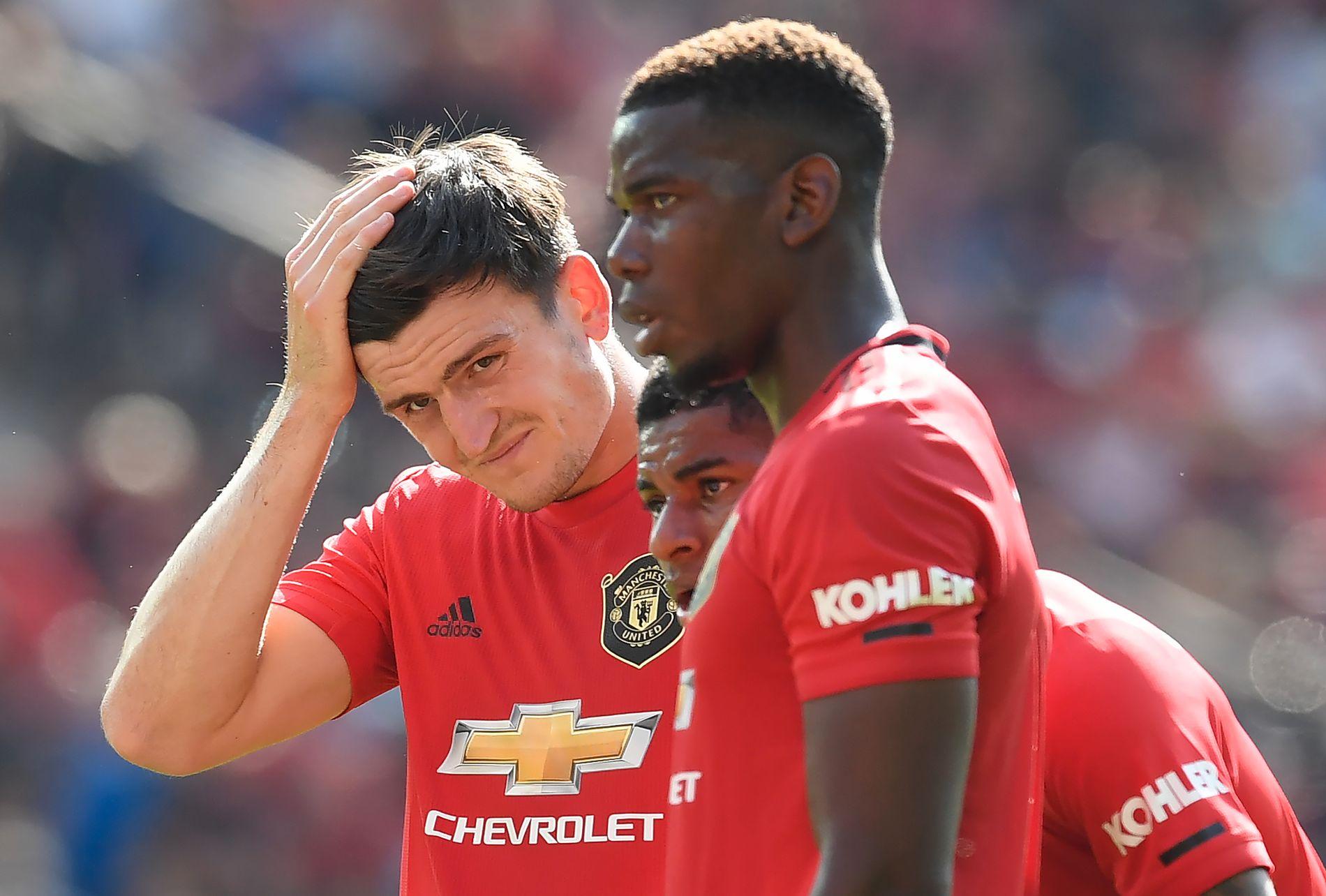 LEDERTYPER? Harry Maguire og Paul Pogba er to av tre 26-åringer i United-laget. I midten Marcus Rashford.