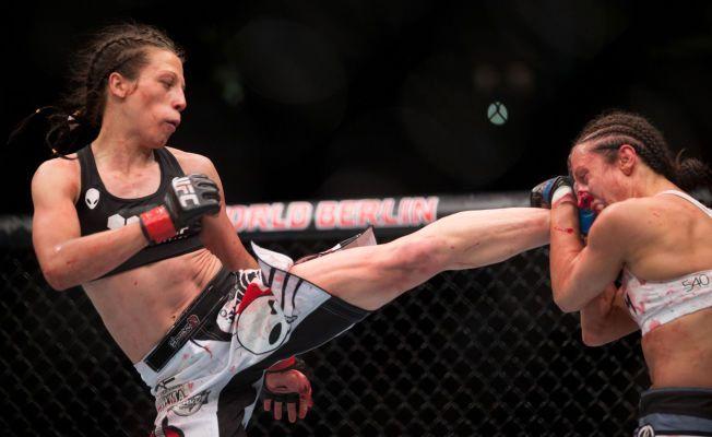OVERLEGEN MESTER: Joanna Jędrzejczyk har knust blant andre Jessica Penne (t.h.) dette året, og er stråvektmester i UFC.