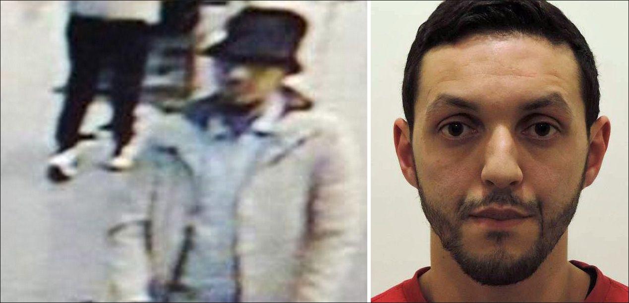 ETTERLYST: Den ukjente mannen (t.v.) ble fanget opp av overvåkningskamera på flyplassen da han gikk sammen med selvmordsbomberne. Mohamed Abrini (t.h.) er den del av samme terrorcelle som har utført angrepene mot Brussel og Paris.