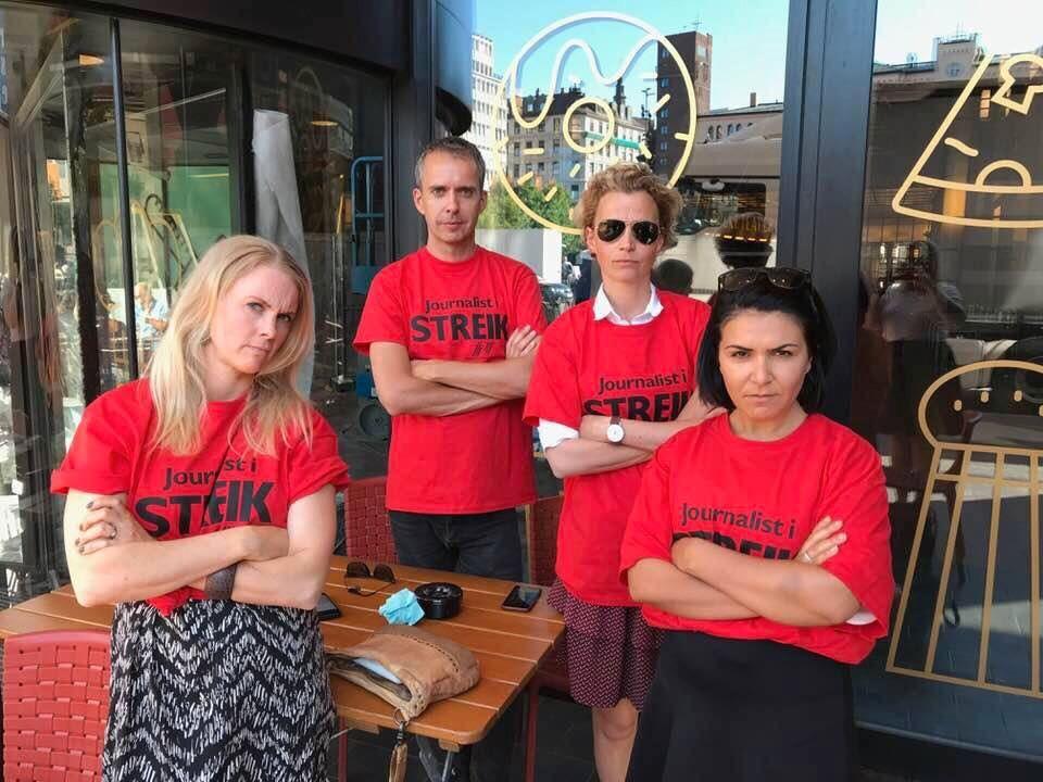 UTE I STREIK: NRK-journalistene (fra venstre) Iselin Fjeld, Jarle Roheim Håkonsen, Ingunn Solheim og Rima Iraki.
