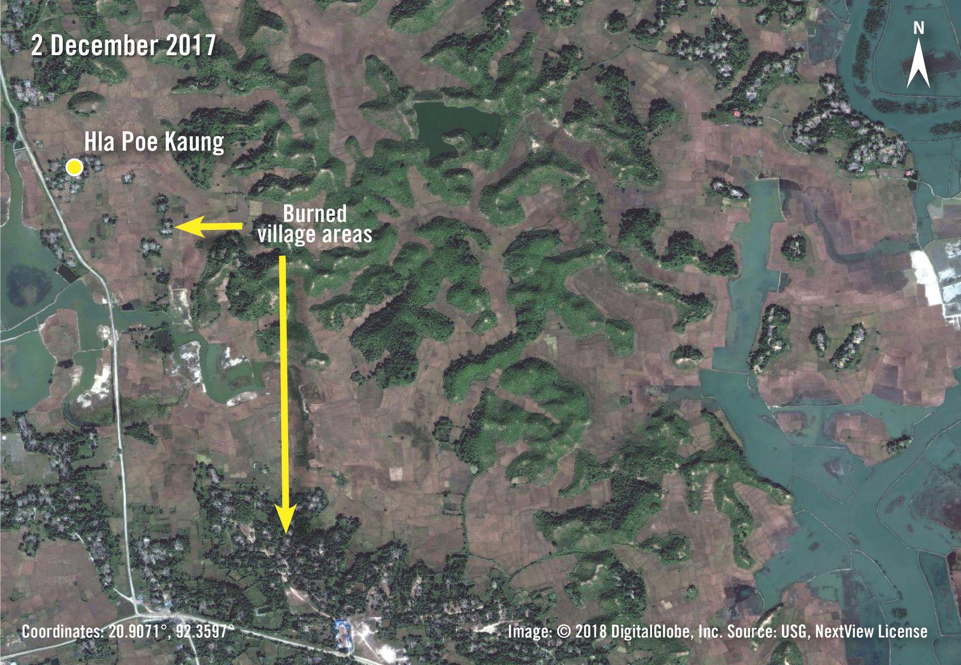 NEDBRENT: Satellittbildet fra desember 2017 viser nedbrente byer ved Hla Poe Kaung.