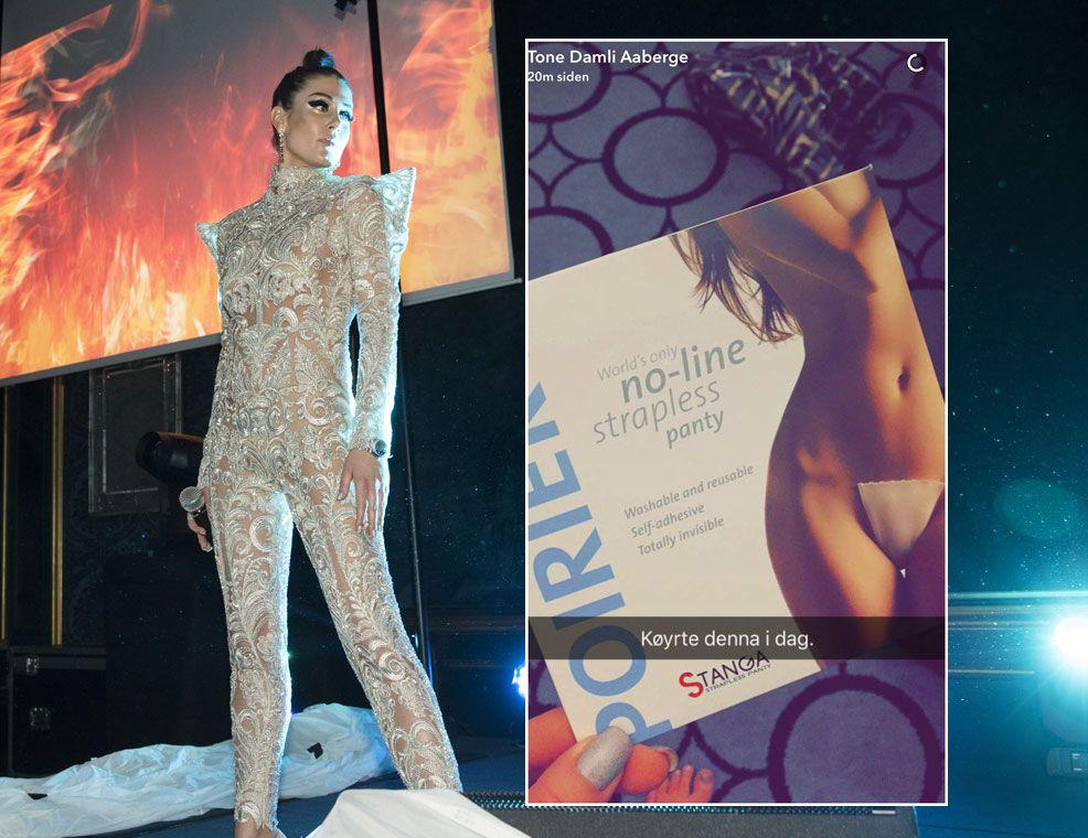 GJENNOMSIKTIG: Tone Damli på Vixen Blog Awards. Bildet til høyre postet hun selv på Snapchat etter opptredenen.
