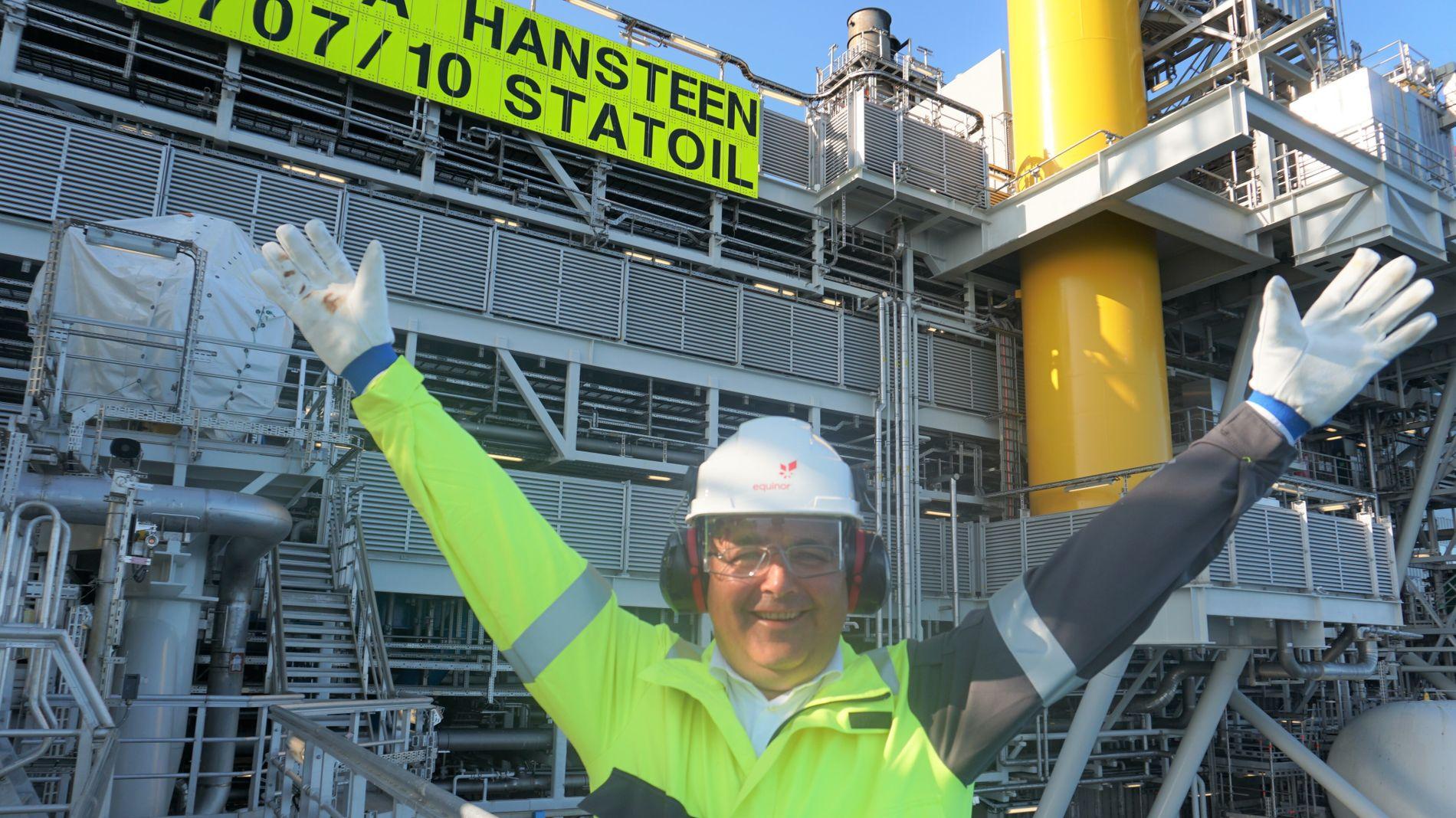 Olje- og energiminister Kjell Børge Freiberg (Frp) på besøk på Aasta Hansteen-feltet 22. august 2019