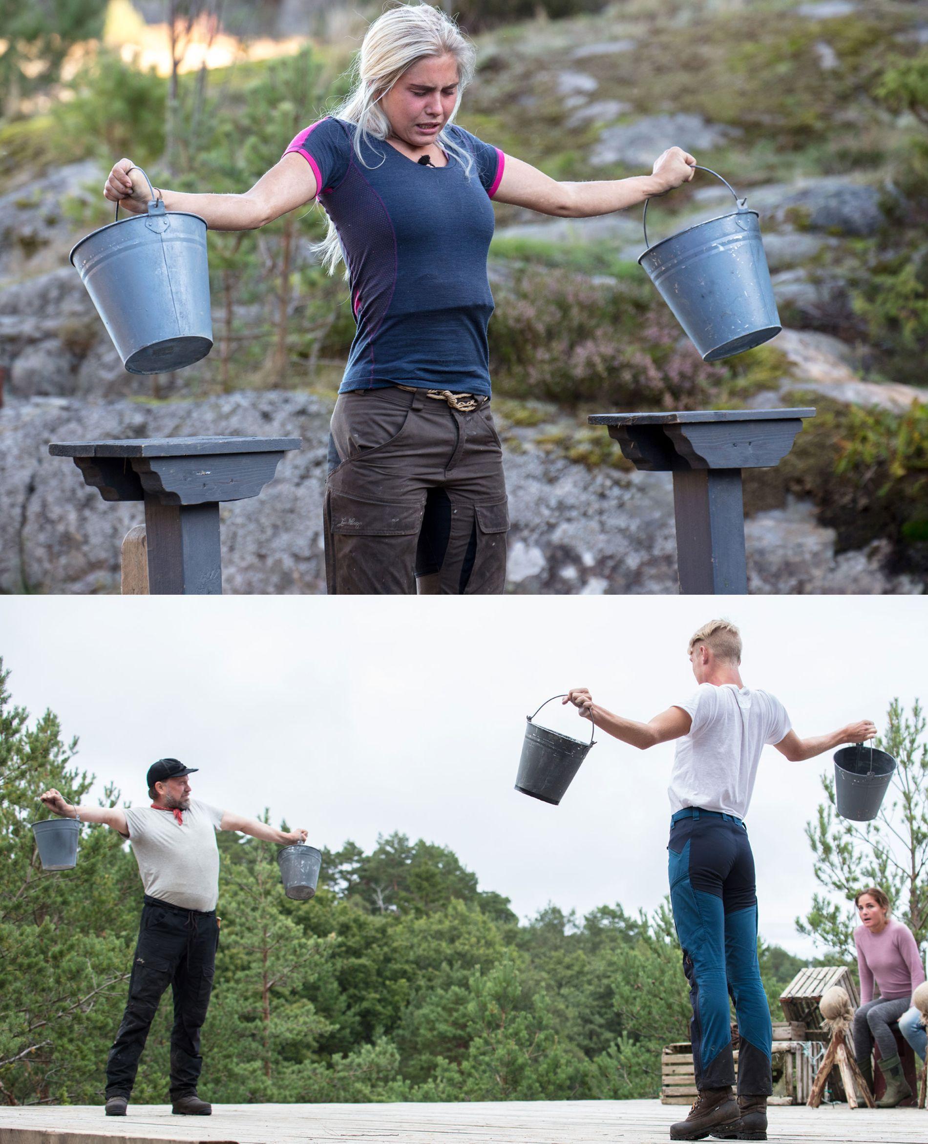 MED OG UTEN: Amalie måtte kjempe med å holde bøttene over pålestativene, mens Halvor og Bjør-Erik ikke hadde underlag. De ble bedømt etter programlederens skjønn.