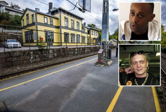 MØTTES HER: Metkel Betew og Lars Harnes var ikke klar over at de var overvåket av politiet da de møttes her på Nordstrand stasjon i Oslo.