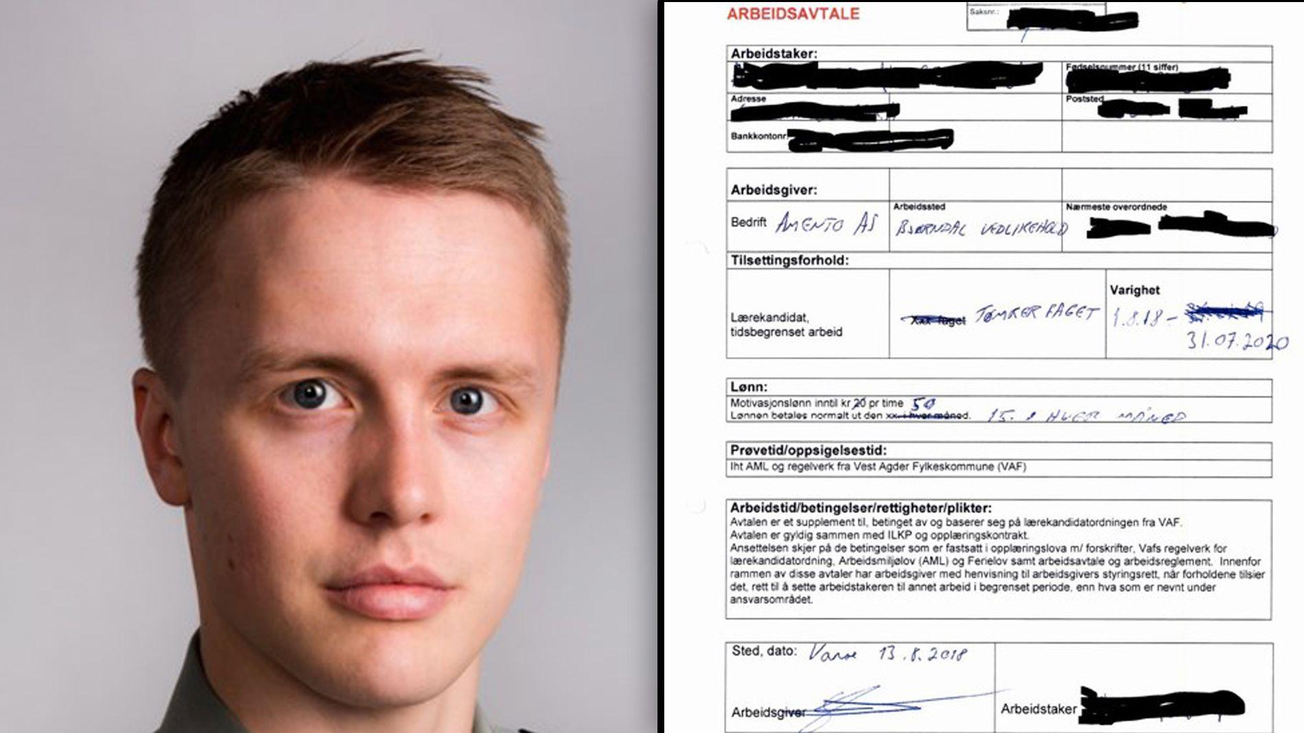 Elev- og lærlingombud i Vest-Agder fylkeskommune, Kristoffer Niemi-Olsen, frykter alle lærekandidater tilknyttet opplæringskontoret OK Kompetanse har lignende arbeidsavtaler.