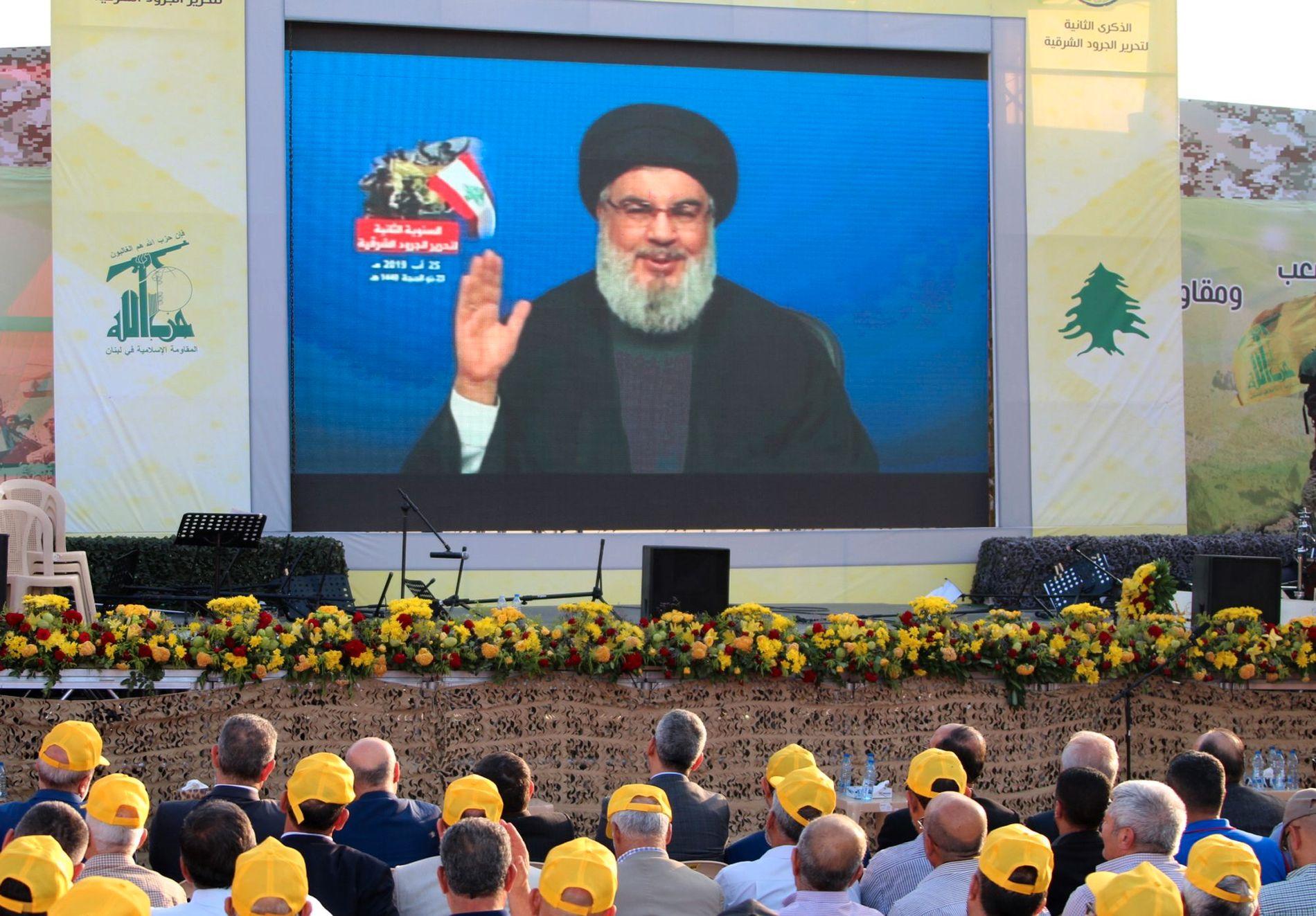 TALTE: Hizbollah-leder Hassan Nasrallah talte til sine tilhengere søndag ettermiddag, kort tid etter den israelske droneangrepet i Beirut.