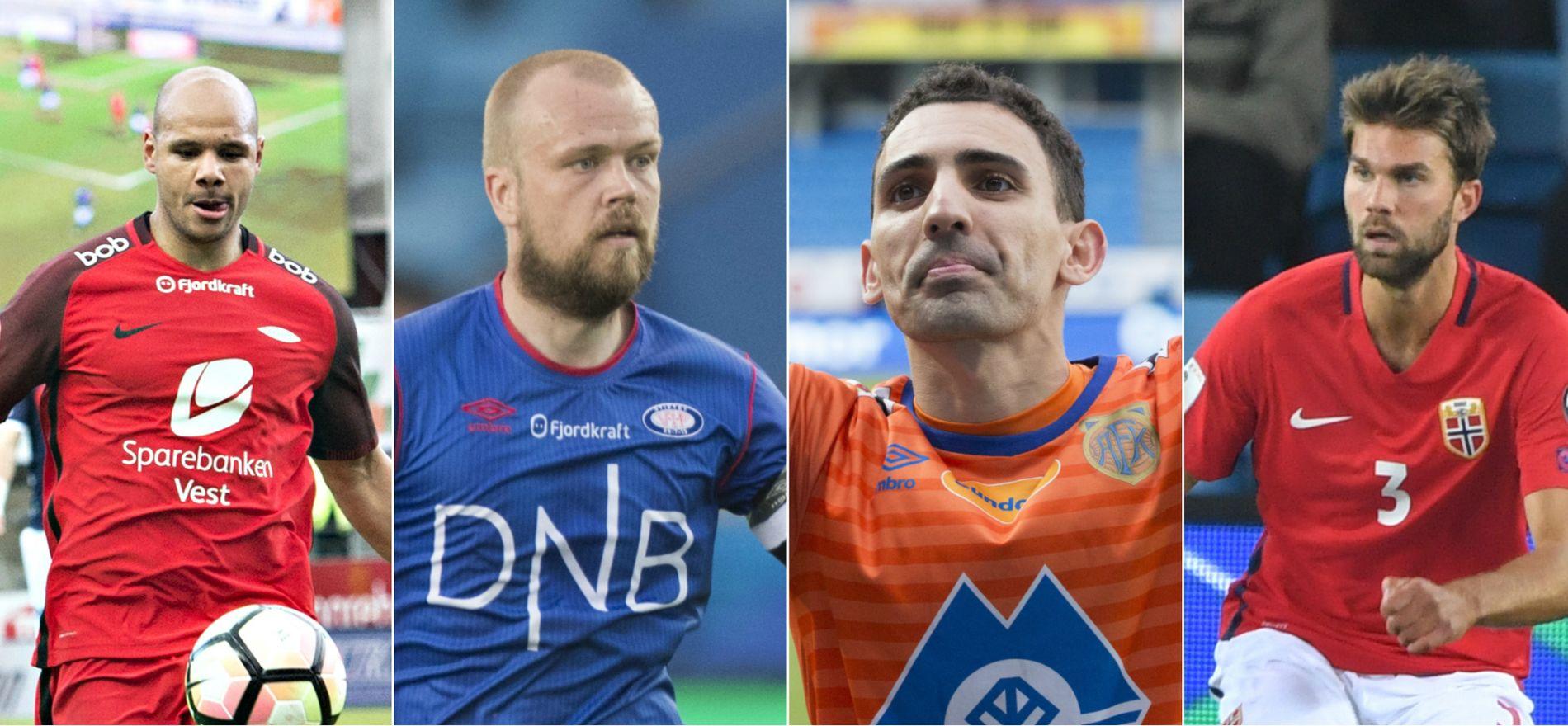 UTGÅENDE: Per nå har ikke Daniel Braaten (Brann), Christian Grindheim (Vålerenga), Mustafa Abdellaoue (Aalesund) og Jørgen Skjelvik (Rosenborg) avtale for 2018-sesongen. De kan dermed hentes gratis etter sesongen.