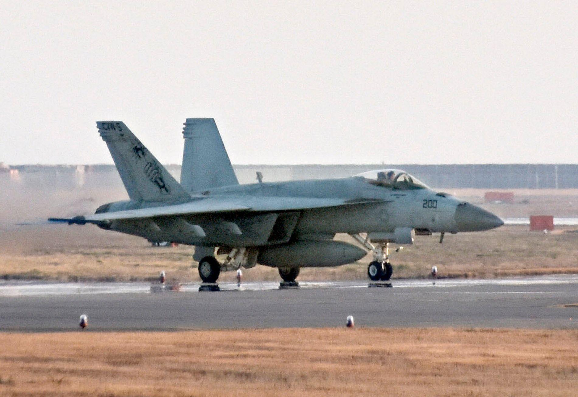 JAPAN: Et F/A-18 jetfly på den amerikanske marinebasen Iwakuni i Japan i mars i år.