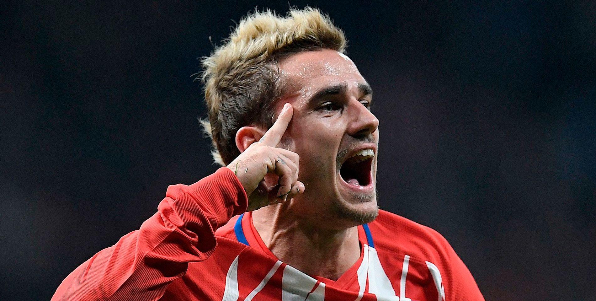 ETTERTRAKTET: Antoine Griezmann jubler etter å ha gitt Atlético Madrid ledelsen i hjemmekampen mot Roma for to uker siden. Noe senere gjorde Griezmann forarbeidet til spanjolenes andre scoring. Madrid-klubben vant kampen 2-0.