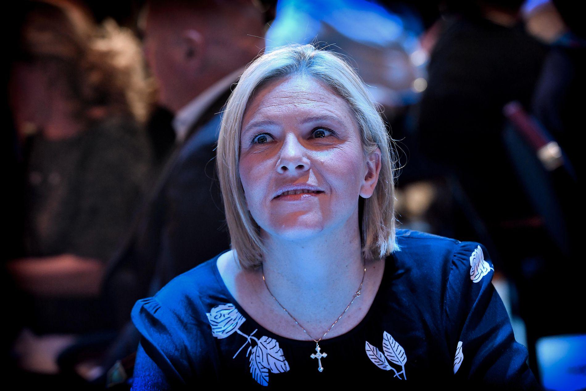 DÅRLIGE PROGNOSER: Nestleder i Frp, Sylvi Listhaug, da de foreløpige prognosene ble offentliggjort klokken 21 mandag kveld.