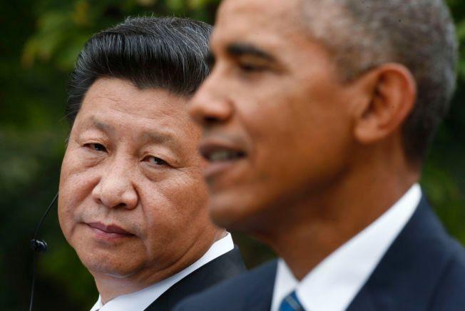 SAMARBEIDER: Presidentene Xi Jinping (t.v.) og Barack Obama har de siste årene tatt flere felles initiativer for å styrke den internasjonale innsatsen mot klimaendringene. Bildet ble tatt da Xi besøkte Washington i september.