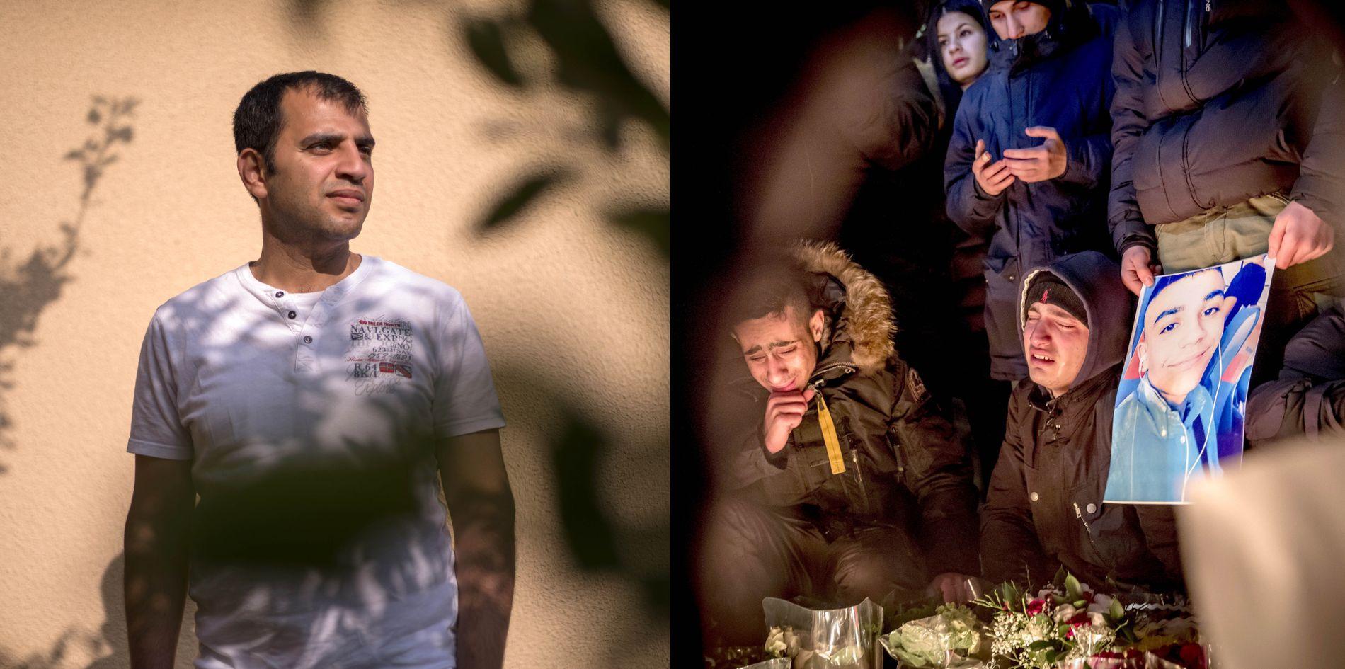 SØRGER: (til høyre) Venner av 16 år gamle Ahmed Obaid (avbildet på plakaten) sørger i en minnestund til ære for kameraten. Ett og et halvt år etter at 16-åringen ble tilfeldig skutt og drept på en bussholdeplass, har fortsatt ingen blitt tatt for mordet. Til venstre: Fetteren Housam Abbas (31) forteller at familien ikke kjenner seg trygge i Malmö lenger.