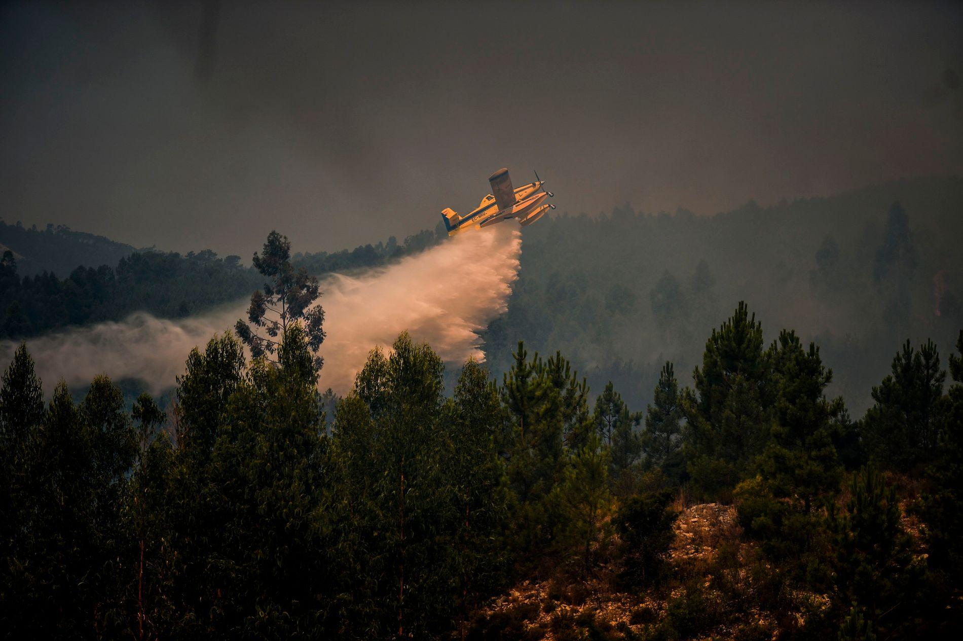 VANN FRA OVEN: Rundt 1800 brannfolk har jobbet med å slukke brannen i Portugal.