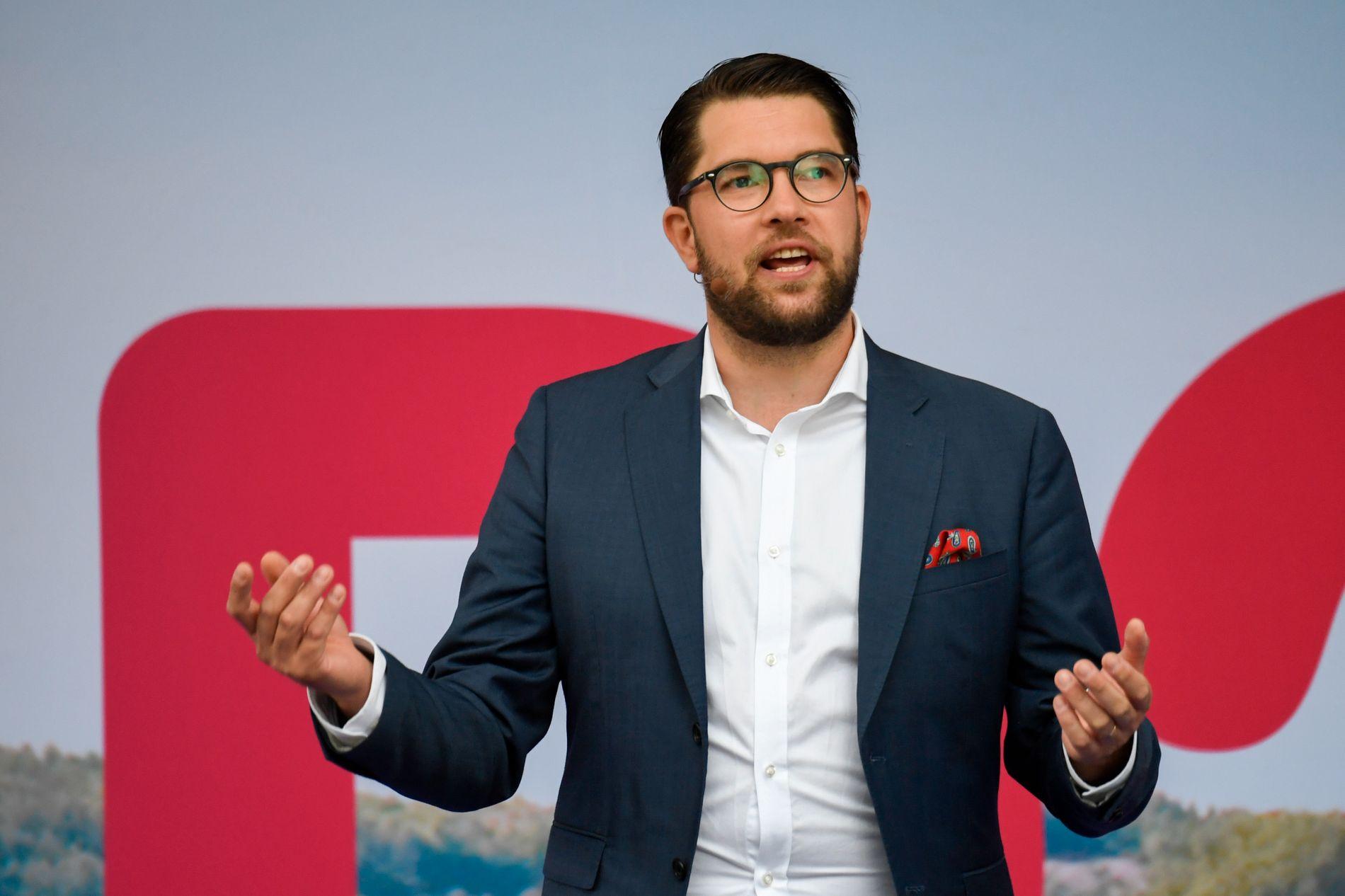 URØRLIG: Jimmy Åkesson og Sverigedemokraterna spås stor fremgang i valget. SD har vært et utenkelig samarbeidsparti for etablerte svenske partier. I Skåne kan det bli lokalt samarbeid mellom andre partier i ND.