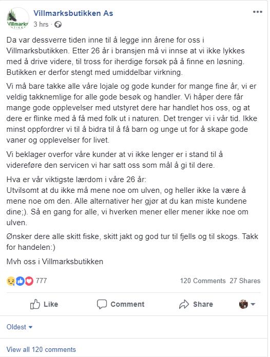 VIL IKKE SNAKKE OM ULV: Det var stor skuffelse på Facebook da Villmarksbutikken annonserte at torsdag ble siste dag med salg.