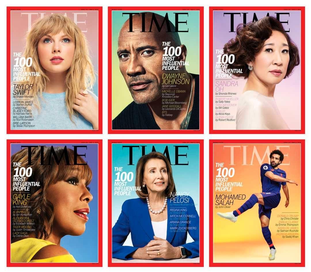 FORSIDENE: Her er ansiktene som pryder Times utgave med Topp 100-listen.