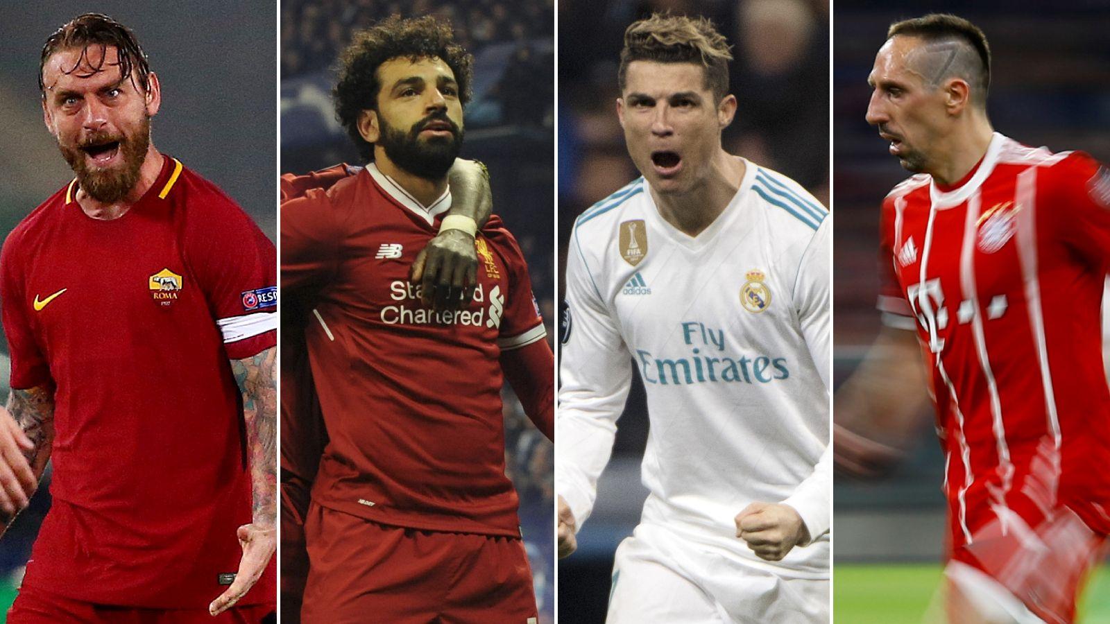 SEMIFINALEKLARE: Romas Daniele de Rossi, Liverpools Mohamed Salah, Real Madrids Cristiano Ronaldo og Bayern Münchens Franck Ribery.