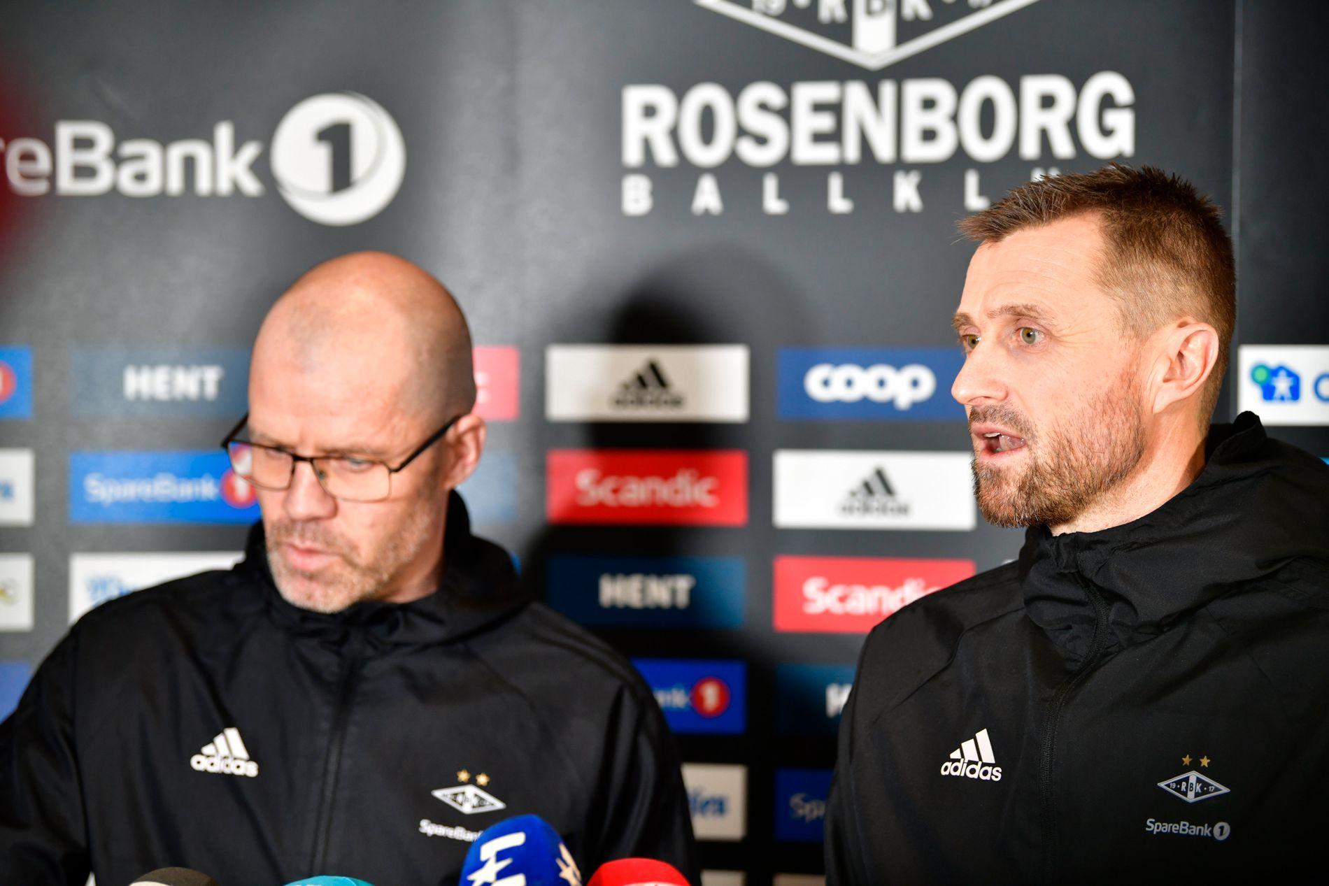 HAR TILLIT: Det sier sportslig leder i Rosenborg, Stig Inge Bjørnebye, om Eirik Horneland. Her er duoen under presentasjonen av sistnevnte som RBK-trener i januar.