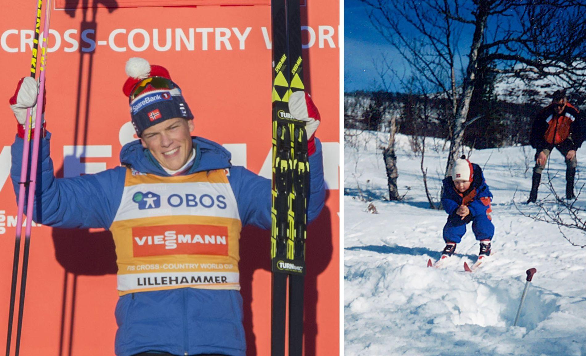 BEST - IGJEN: Johannes Høsflot Klæbo kan smile etter nok en drømmehelg i verdenscupen - denne gangen på Lillehammer. Ski-karrieren startet en mars-dag i 1999 (høyre).