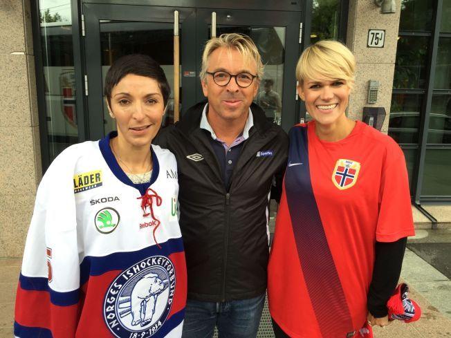 GJESTER I TALKSHOW: Mini Jakobsen er programleder mens Lisa Tønne og Sigrid Bonde Tusvik er gjester  i «Tusvik og Tønne Talkshow».