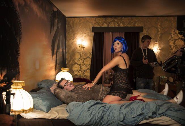 SEXSCENE: Linn Skåber og Nils Jørgen Kaalstad spiller inn sexscener.