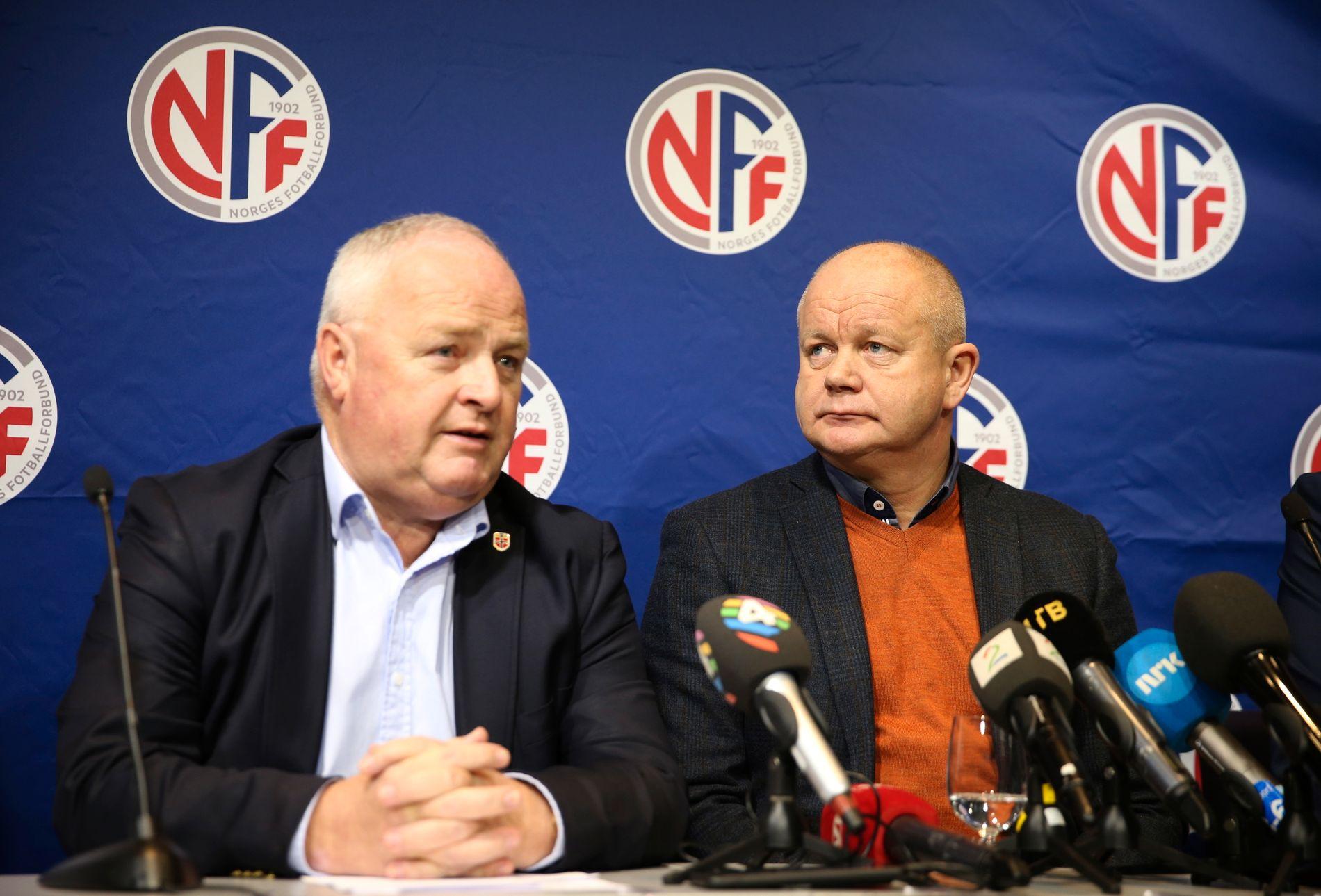 FERDIG SOM LANDSLAGSTRENER: Fotballpresident Terje Svendsen på pressekonferansen der det ble klart at Per-Mathias Høgmo var ferdig som landslagstrener i fotball.