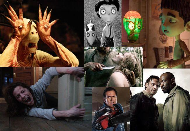 HALLOWEEN-MIKS: Øverst fra venstre, med klokka: «Pans labyrint», «Frankenweenie», «ParaNorman», «The Walking Dead», «Rovdyr», «Ash vs. Evil Dead» og «The Conjuring».