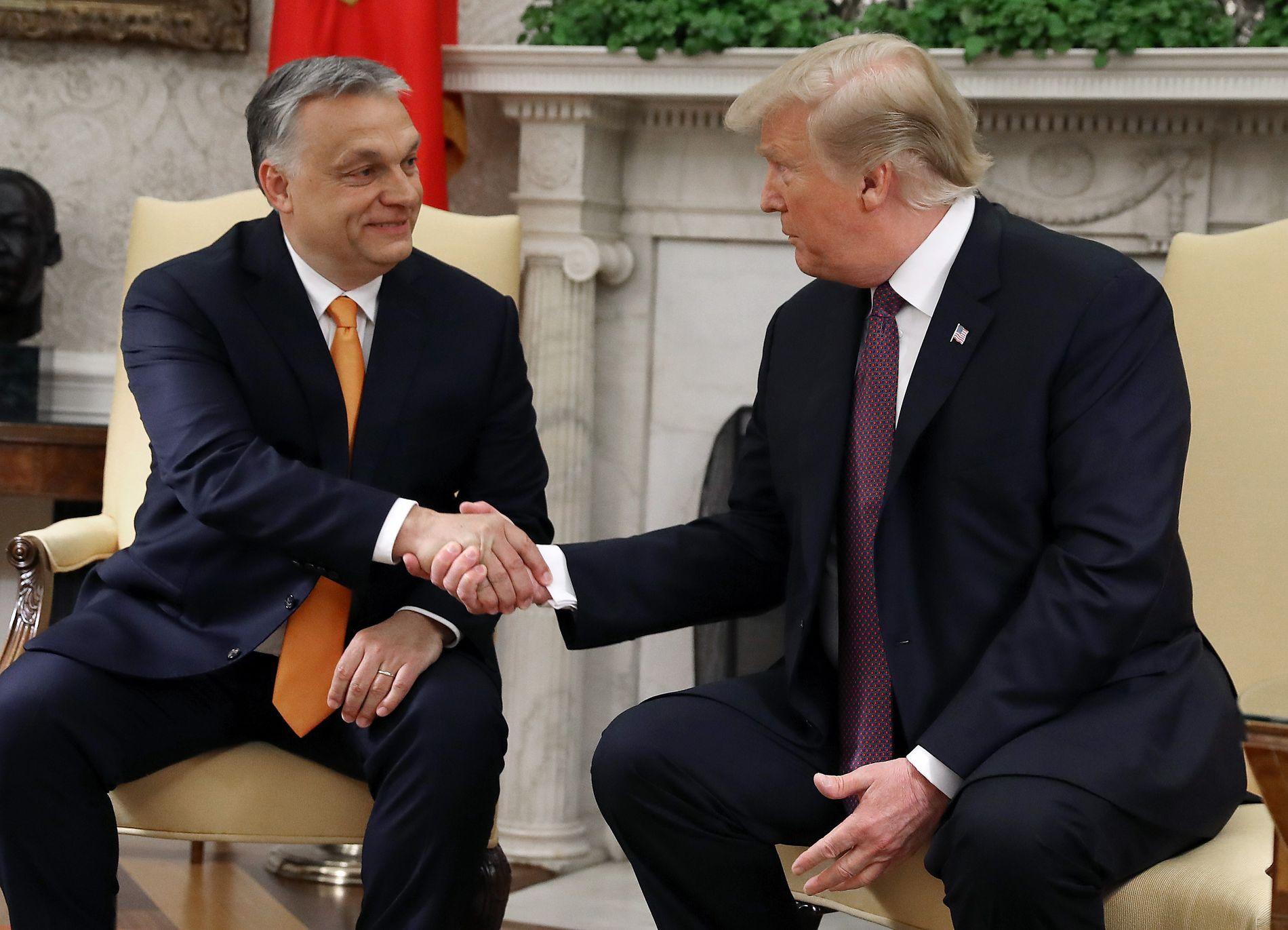 MØTTES: USAs president Donald Trump og statsminister Viktor Orbán fant tonen da Orban besøkte Det hvite hus. Ungarns dårlige forhold til Norge sto på timeplanen.