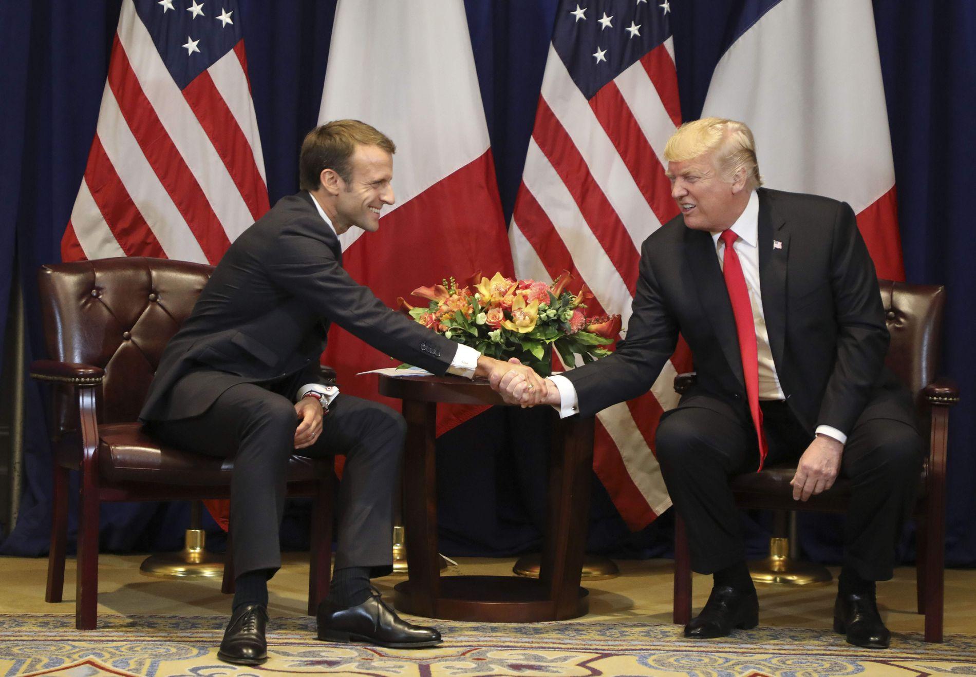 MØTTE MACRON: Donald Trump hadde et møte med den franske presidenten Emmanuel Macron i New York.