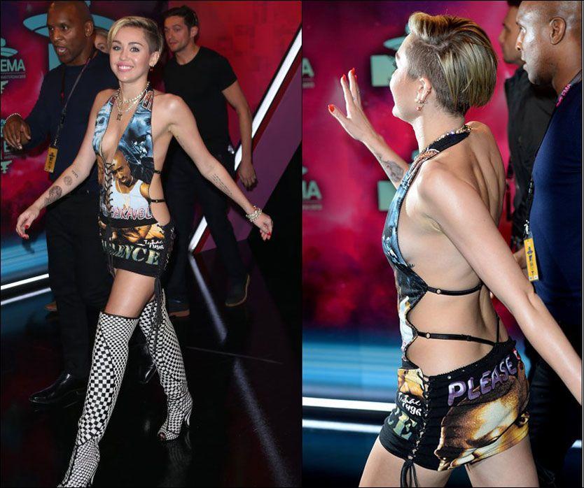 SELVSIKKER: Miley Cyrus er ikke redd for å provosere. Her på vei inn til MTV-fest iført et særegent antrekk. Foto: PA