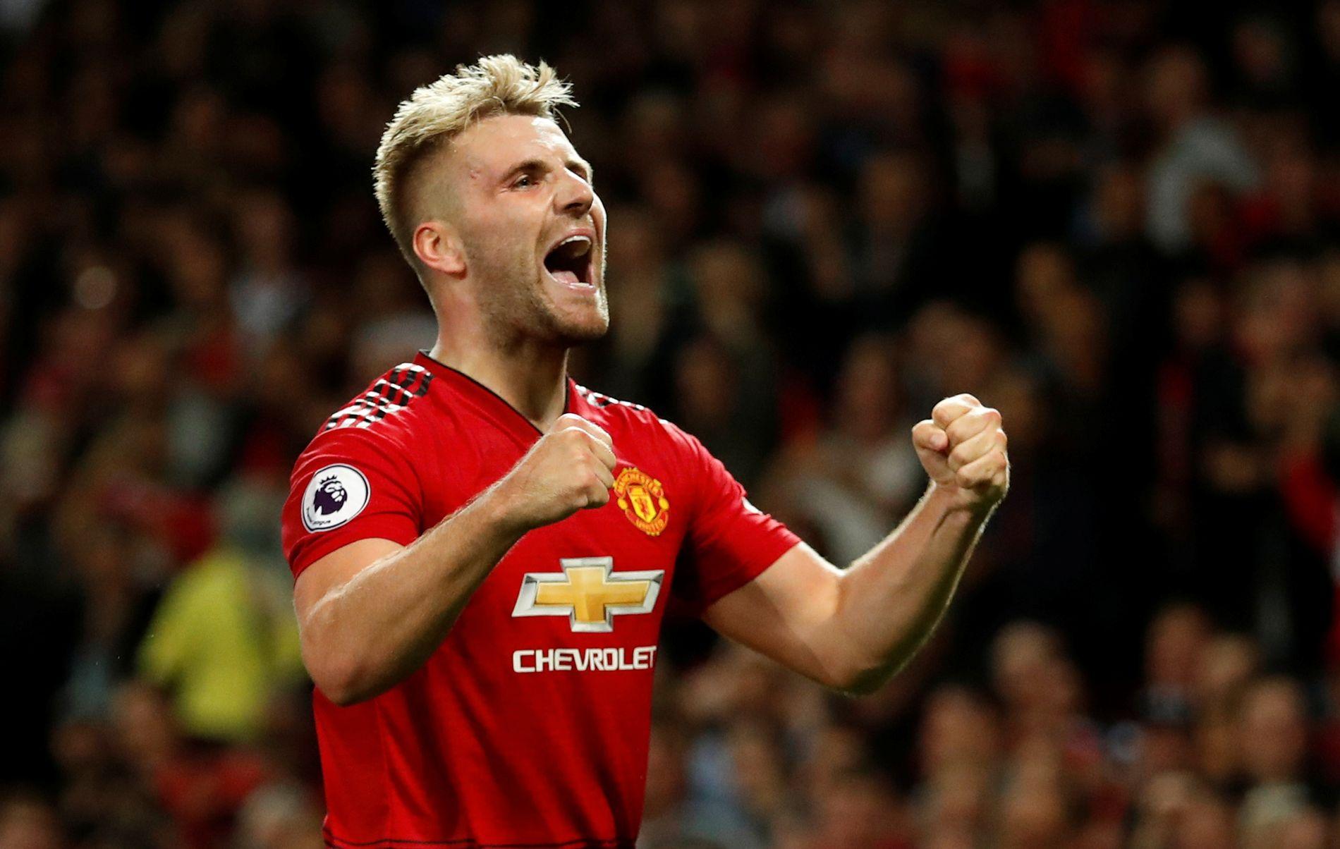 SLAPP JUBELEN LØS: Luke Shaw scoret Manchester Uniteds andre mot Leicester. Det var hans første mål på seniorspiller.