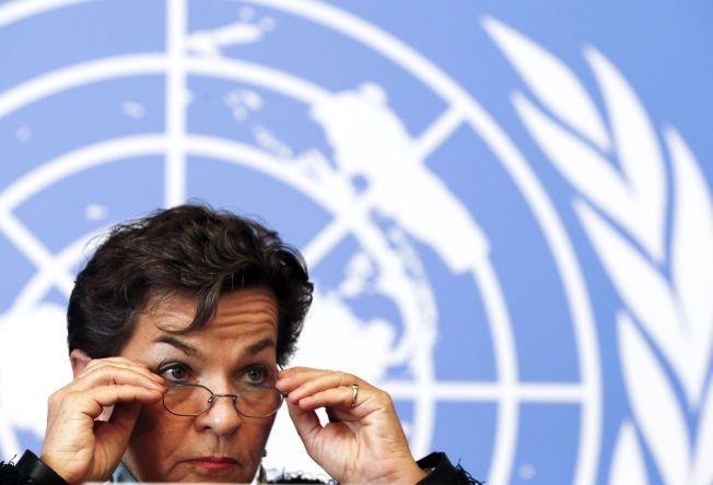 FØRSTE STEG: Lederen for FNs klimakonvensjon, Christiana Figueres, under en pressekonferanse etter forhandlingsmøtet i Genève.