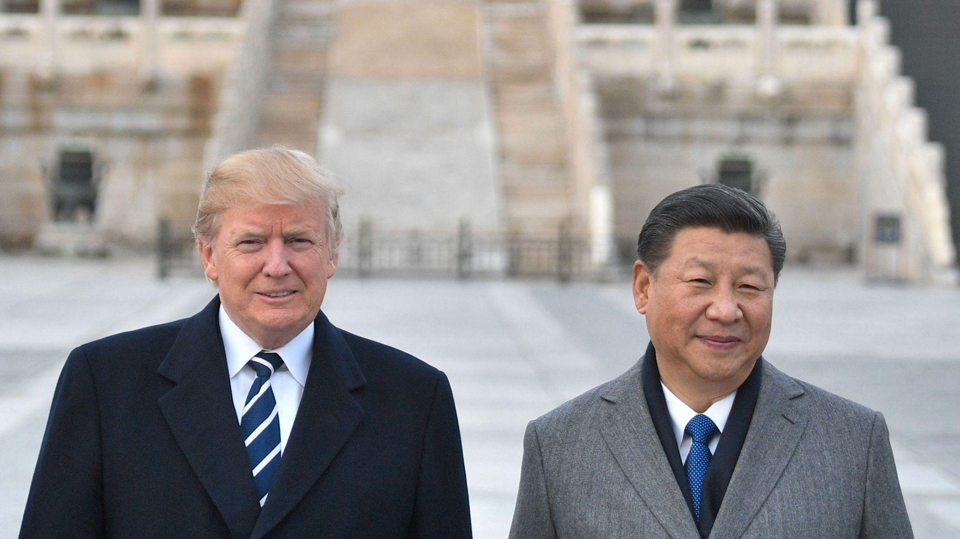 HANDELSKRIGERE: USAs president Donald Trump og Kinas president Xi Jinping sammen i Beijing i fjor.