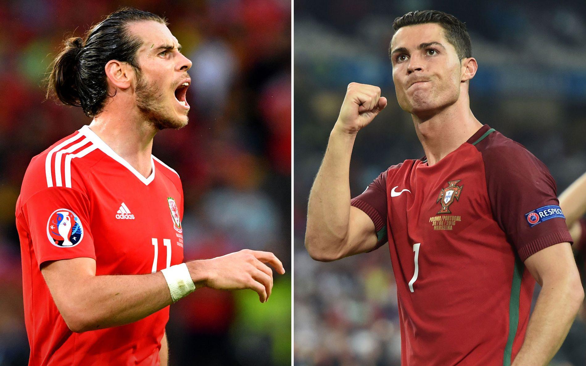 KLUBBKAMERATER: Gareth Bale (t.v.) og Cristiano Ronaldo (t.h.) er til daglig lagkamerater i spanske Real Madrid. Onsdag møtes de til dyst som rivaler for henholdsvis Wales og Portugal.
