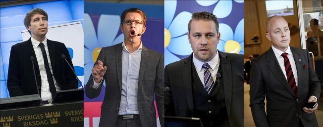 MEKTIGE MENN: Disse fire pekes på som de mest toneangivende i Sverigedemokraterna: Richard Jomshof, Jimmie Åkesson, Mattias Karlsson og Björn Söder.