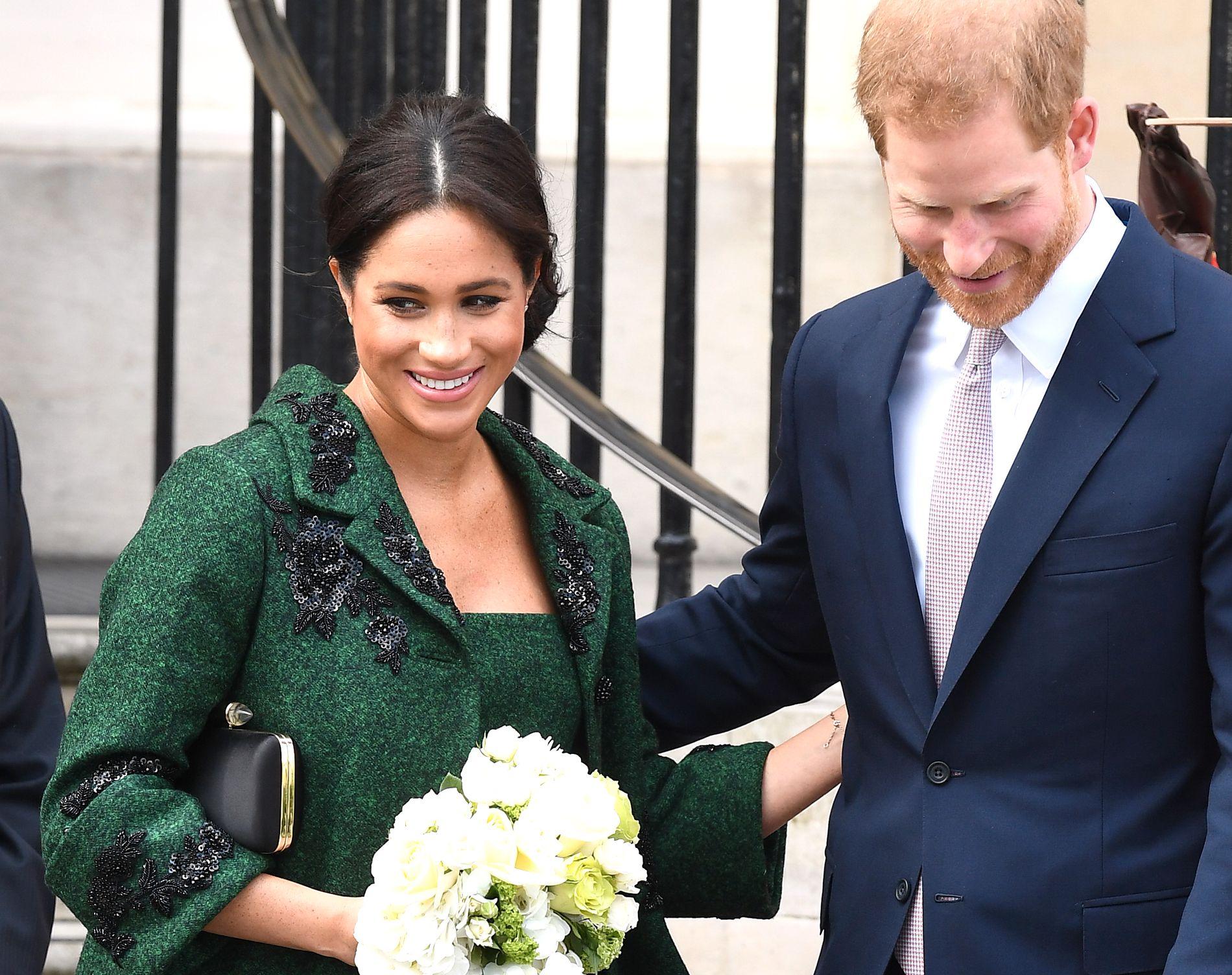 FØDEKLAR: Hertuginne Meghan under Commonwealth Service i London i mars.
