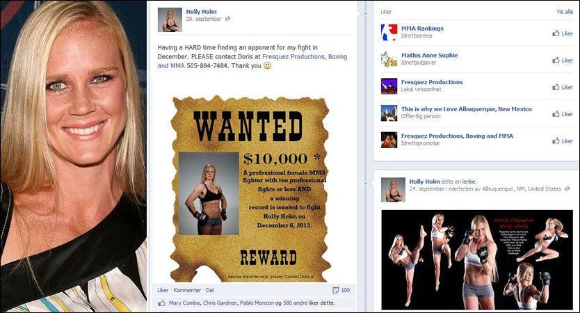 MANGLER MOTSTAND: Holly Holm (t.v.) er på jakt etter en motstander til en MMA-kamp som er satt opp 6. desember. Aktuelle utfordrere står tydeligvis ikke i kø. Foto: Jesse Grant/WireImage og faksimile fra Facebook