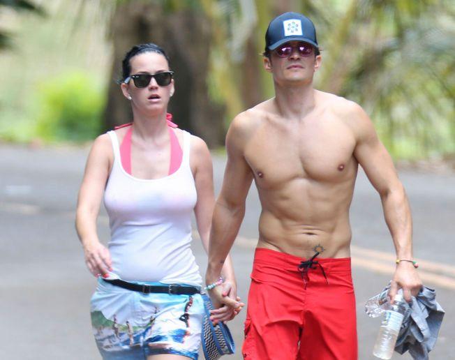 VISTE SIN KJÆRLIGHET: Katy Perry og Orlando Bloom ble sett hånd i hånd på en treningstur i Hollywood.