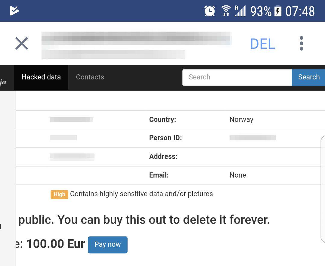 RAMMET: Dette er en skjermdump av informasjonen om en 35 år gammel Bergen-kvinne som hackerne hadde lagt ut.