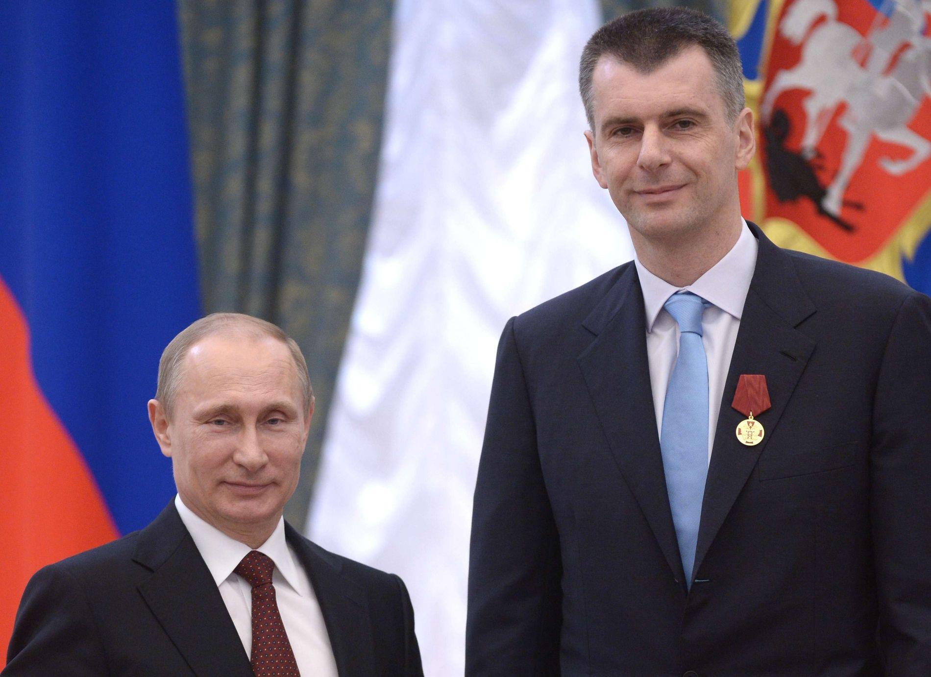 UTMERKELSE: Mikhail Prokhorov fotografert i forbindelse med at han fikk en utmerkelse utdelt av president Vladimir Putin i Kreml.