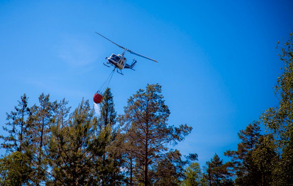 En skogbrann på grensen mellom Birkeland og Grimstad i Aust-Agder eskalerte kraftig torsdag kveld. Brannmannskapene ba om assistanse fra brannhelikopter.