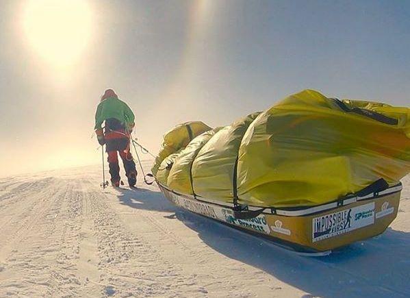 OPPAKNING: Dette bildet delte O'Brady på dag 50 av ekspedisjonen. Da beskrev han å kjempe mot stormkast og at han håpet på bedre vær snart. Bildet gjengis med tillatelse.