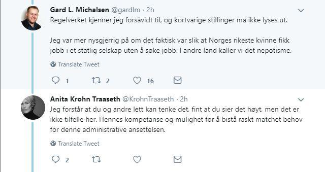 - NEPOTISME: Medier24-redaktør Gard L. Michaelsen stilte på Twitter flere spørsmål til administrerende direktør Anita Krohn Traaseth om ansettelsen av Ferd-arving Katharina Andresen.