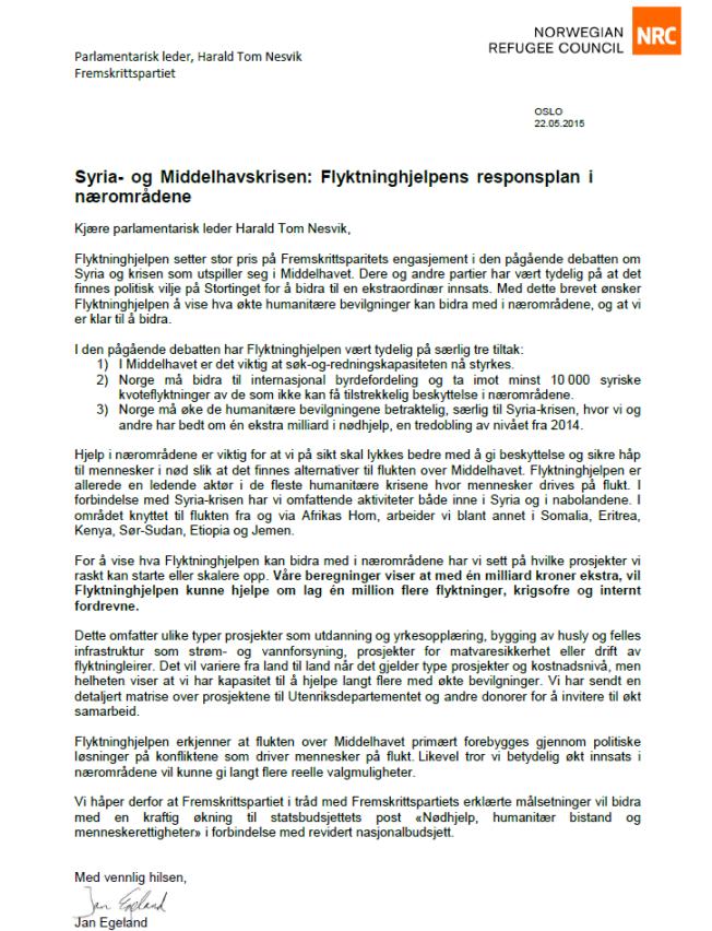 BER OM PENGER: Her er Jan Egelands brev til Fremskrittspartiet.