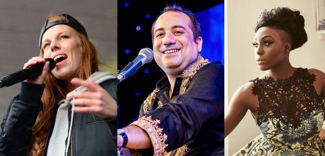 ÆREFULLT OPPDRAG: Gabrielle Leithaug, Ustad Rahat Fateh Ali Khan og Laura Mvula er de første kunngjorte Nobel-artistene.