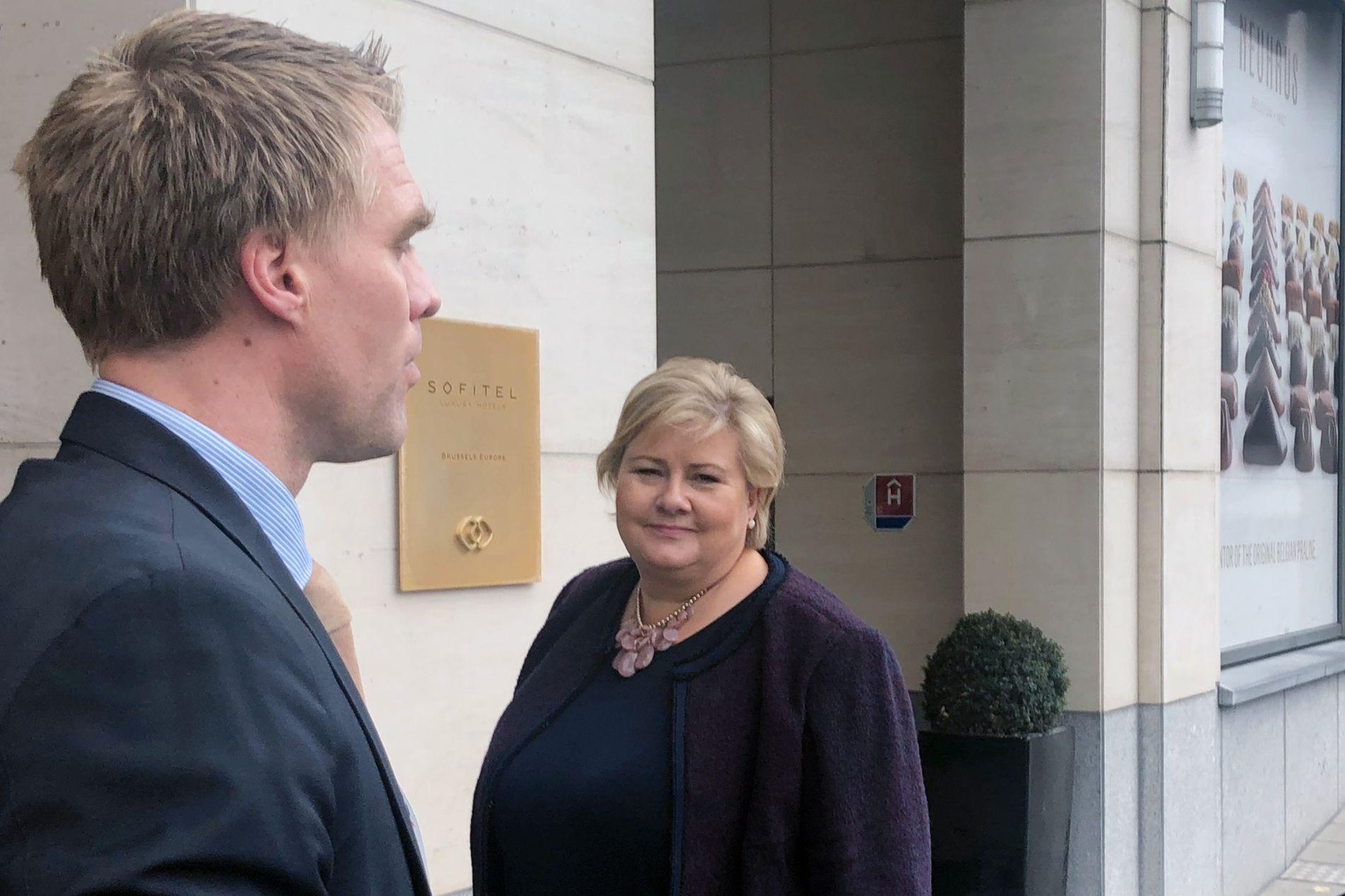 Statsminister Erna Solberg (H) i Brussel torsdag ettermiddag.